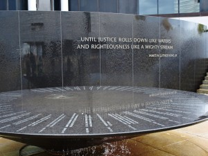 "Civil Rights Memorial (1988–89), Montgomery, Alabama. Maya Lin, creator of the Vietnam Veterans Memorial, was commissioned to design the monument. Lin found her inspiration in the words ""until justice rolls down like waters and righteousness like a mighty stream,"" a paraphrase from the Book of Amos that Dr. Martin Luther King Jr. used in his ""I Have a Dream"" speech and at the start of the Montgomery bus boycott. Maya Lin, Civil Rights Memorial ""The minute I hit that quote I knew that the whole piece had to be about water,"" Lin said. ""I realized that I wanted to create a time line: a chronological listing of the Movement's major events and its individual deaths, which together would show how people's lives influenced history and how their deaths made things better."""